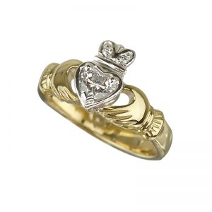 Solvar 18K Yellow & Gold Diamond Claddagh Engagement Ring S2502