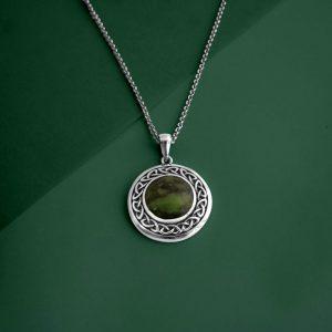 Solvar Round Marble Celtic Pendant S46133