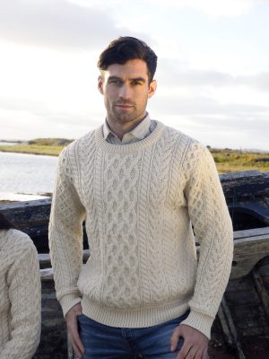 Aran Crafts Crew Neck Heavyweight Natural Sweater