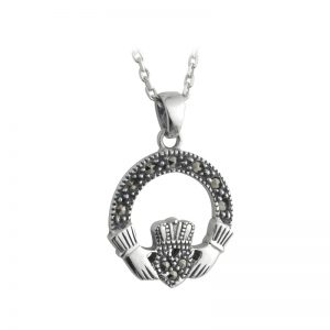 Solvar Sterling Silver Marcasite Small Claddagh Pendant S4509