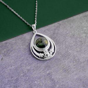 Solvar Connemara Marble Claddagh Pendant S46626