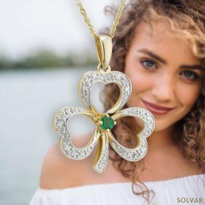 Solvar 14K Gold Diamond & Emerald Shamrock Pendant S46104