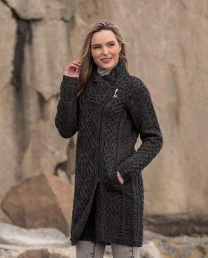 Aran Crafts Charcoal Cable Knit Side Zip Coat
