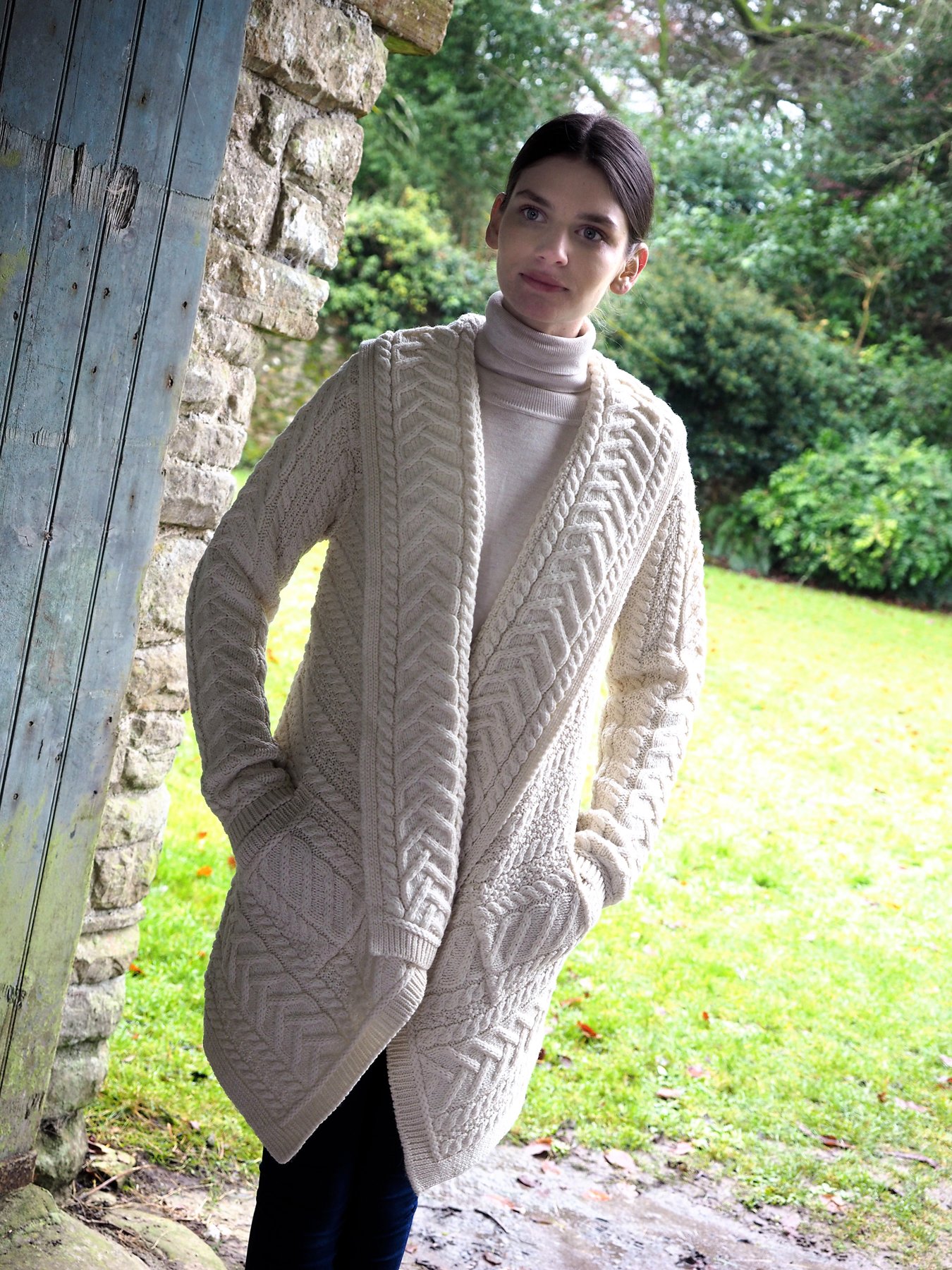 Aran Crafts Cable Knit Waterfall Cardigan sh4695 Skellig Gift