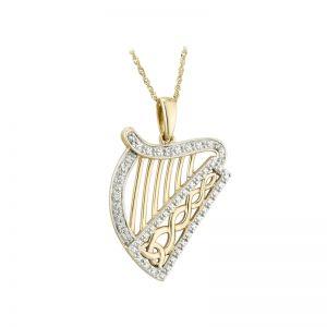 Solvar 14K Yellow White Gold Diamond Harp Pendant S46304