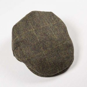 John Hanly Green Heather Windowpane Cap
