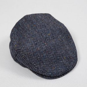 John Hanly Blue Herringbone Donegal Cap