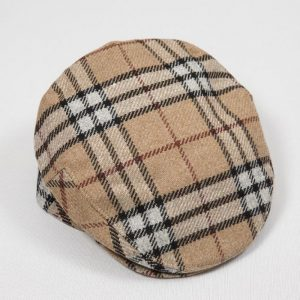 John Hanly Beige Plaid Flat Cap