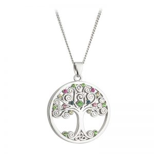 Solvar Silver Plated Crystal Tree Of Life Pendant S45287