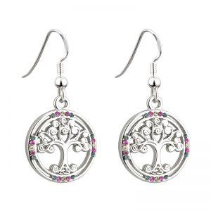 Solvar Rhodium Crystal Tree Of Life Earrings S33401
