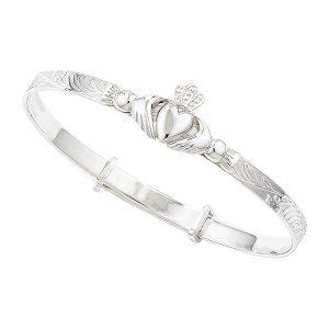 Claddagh Irish Christening Bracelet Sterling Silver