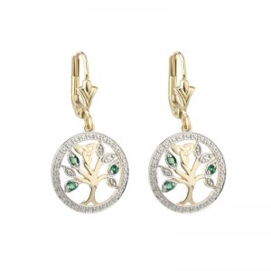 Solvar 14K Gold Diamond & Emerald Tree Of Life Earrings S33748