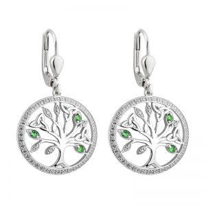 Solvar Silver Crystal Illusion Tree Of Life Drop Earrings S34025