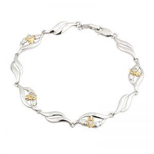 Solvar Sterling Silver 10K Gold & Diamond Claddagh Bracelet S5729
