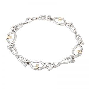 Solvar Sterling Silver & 10K Gold Claddagh Bracelet S5746