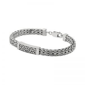 Solvar Sterling Silver Heavy Trinity Knot Bracelet S50038