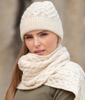 Aran Crafts Super Soft Natural Heart Design Hat