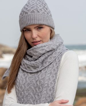 Aran Crafts Super Soft Grey Heart Design Hat X4943