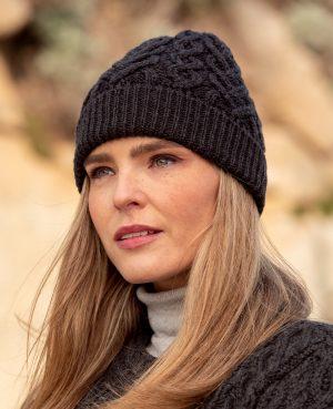 Aran Crafts Super Soft Charcoal Heart Design Hat