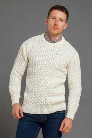 Aran Traditional Merino Wool Crew Neck Sweater