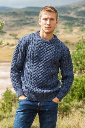 Aran Traditional Merino Wool Denim Sweater
