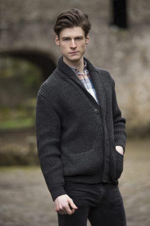 Aran Crafts Ribbed Charcoal Cardigan