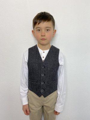 Kids Charcoal Irish Wool Waistcoat