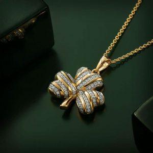 Solvar Gold Plated Silver Cz Shamrock Pendant