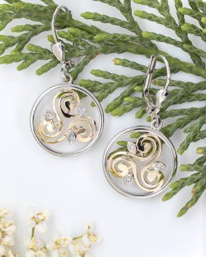 Solvar Sterling Silver 10k Gold Diamond Celtic Earrings
