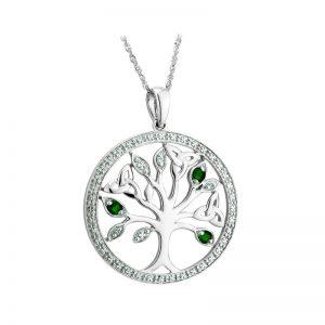 Solvar 14K White Gold Diamond Emerald Tree Of Life Pendant s46728