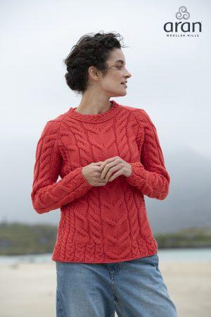 Aran Woollen Mills Coral Raglan Sweater