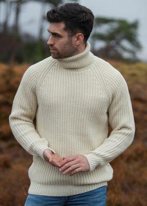 Aran Crafts Submariner Rib Roll Neck Sweater