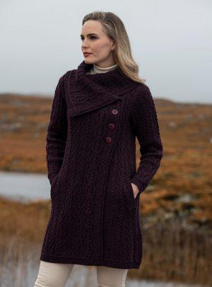 Aran Crafts Chunky Collar Damson Coat