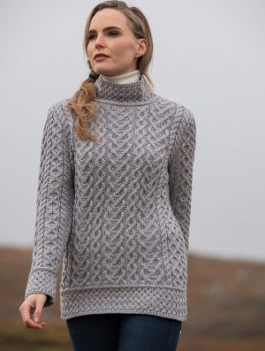 Aran Heart Soft Gray Knit Sweater