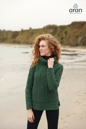 Aran Woollen Mills Roll Neck Green Sweater