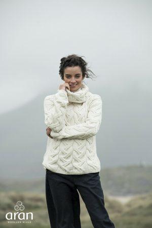 Aran Woollen Mills Supersoft Chunky Knit Cowl Sweater b692 367
