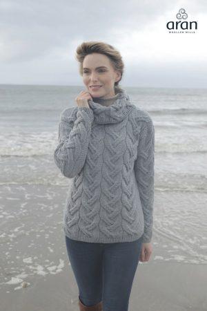 Aran Woollen Mills Supersoft Chunky Ocean Gray Sweater b692 385