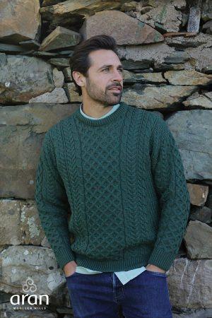 Aran Woollen Mills Merino Wool Fisherman Green Sweater a823 403