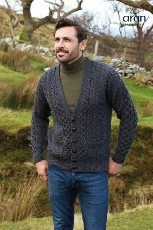 Aran Woollen Mills Merino Wool Charcoal V-Neck Cardigan A758 070