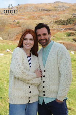 Aran Woollen Mills Merino Wool V-Neck Cardigan A758 162
