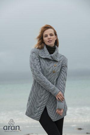 AranWoollen Mills Super Soft Merino Ocean Grey Jacket b691 385
