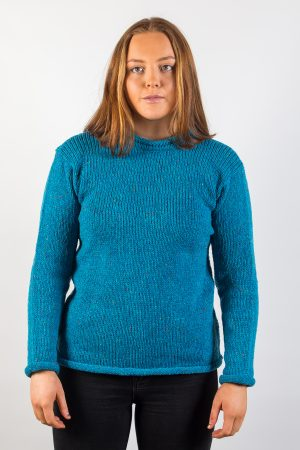 Donegal Wool Women's Roll Neck Ocean Blue Sweater