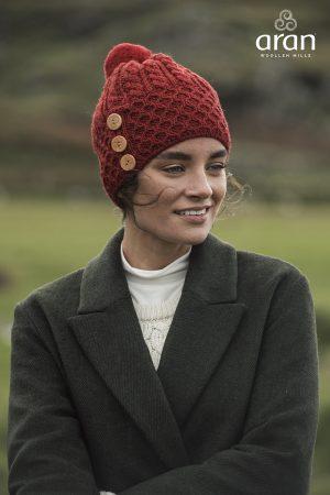 Aran Woollen Mills Merino Wool Red Hat