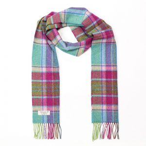 John Hanly Teal Pink Lime & Green Check Mix Scarf