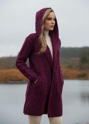 Mayo Purple Shawl Hooded Aran Cardigan