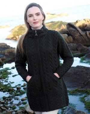 Cork Long Zip Green Coat X5070