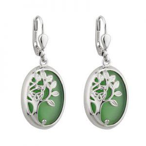 Solvar Rhodium Green Tree Of Life Drop Earrings