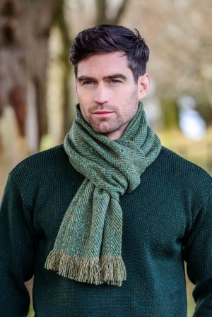 Mucros Donegal Tweed Green Scarf