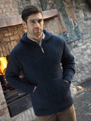 Aran Crafts Men's Hooded Cardgian