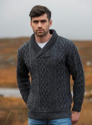 Aran Crafts Bunratty Shawl Collar Sweater